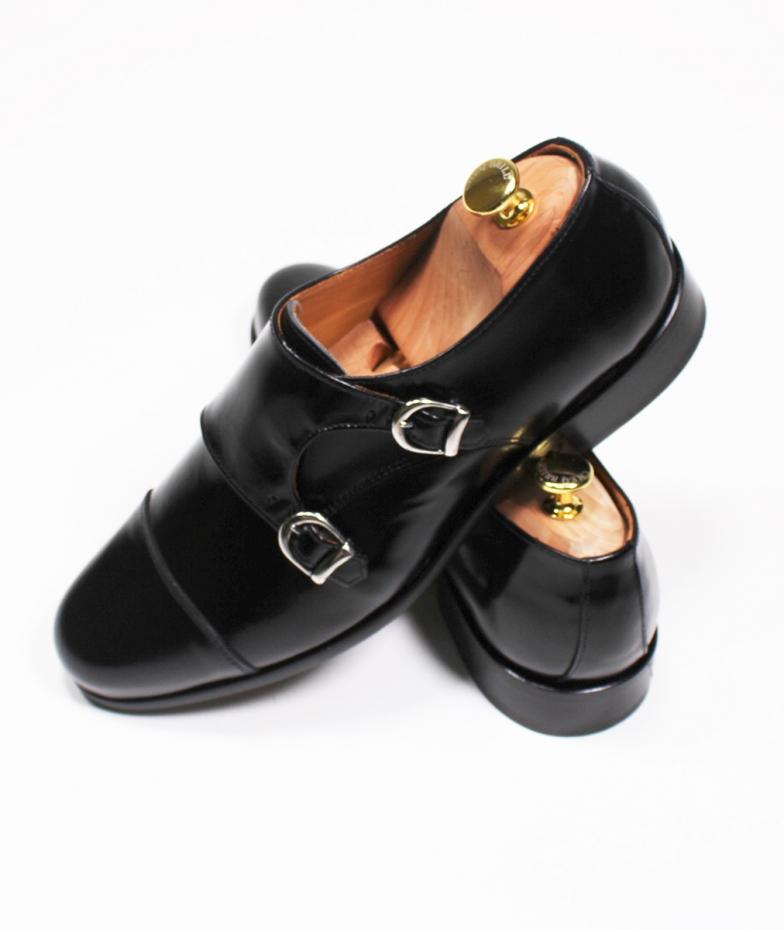 Zapato Piel Doble Hebilla Negro